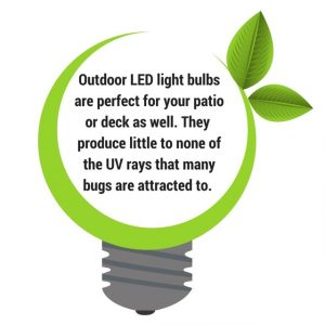 green plant light bulb with text, led lighting outdoor will prevent bugs