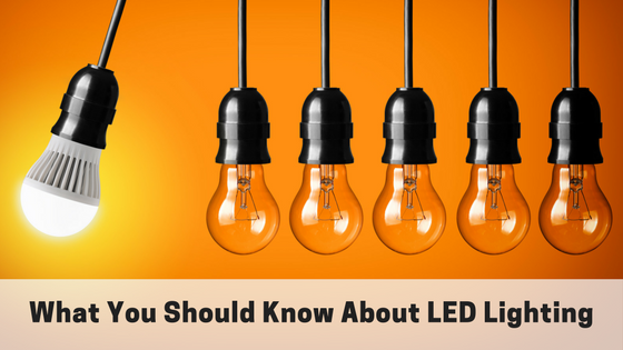 "One LED light with five incandescent lights hanging with quote ""what you should know about LED lighting"""